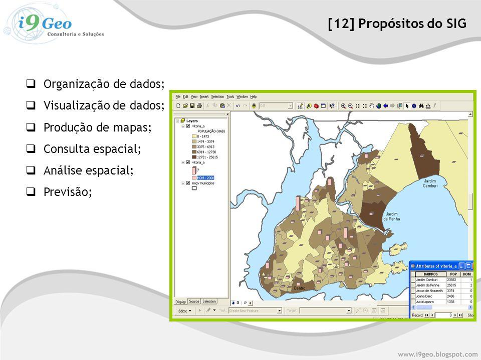 [12] Propósitos do SIG Organização de dados; Visualização de dados;